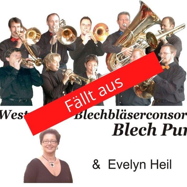 """Fotomontage des Blechbläserconsorts Blech Pur mit einem roten Hinweis """"Fällt aus"""""""