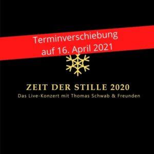 """Das Zeit der Stille Logo auf schwarzem Hintergrund mit rotem Warnstreifen darüber """"Terminverschiebung auf 16.04.2021"""""""