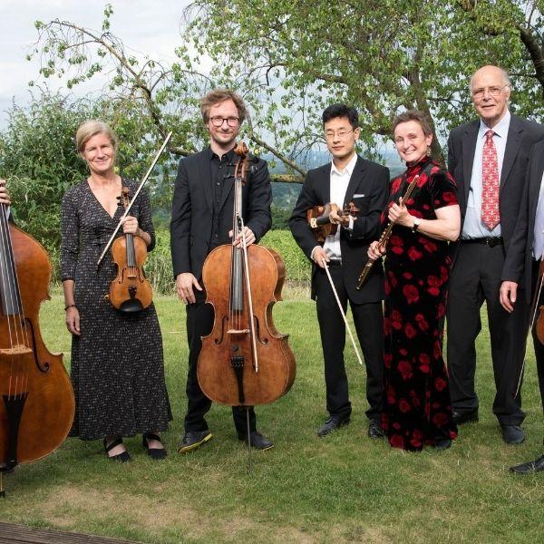 Ein Ensemble des Mainzer Kammerorchesters steht mit Instrumenten auf einer grünen Wiese
